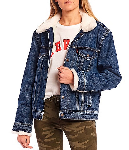 Levi's® Cozy Faux Fur Collar Ex-Boyfriend Trucker Denim Jacket