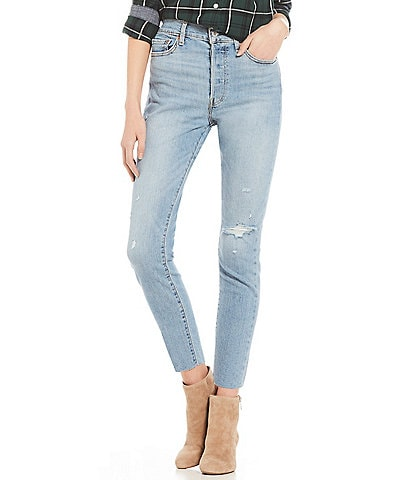 Levi's® Destructed Raw Hem Wedgie Ankle Skinny Jeans