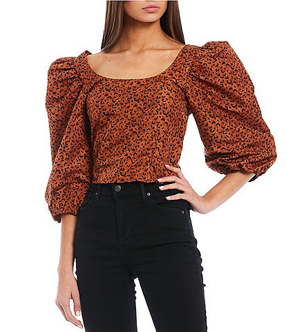 Levi's® Kaila Leopard Print Puff Sleeve Cropped Top