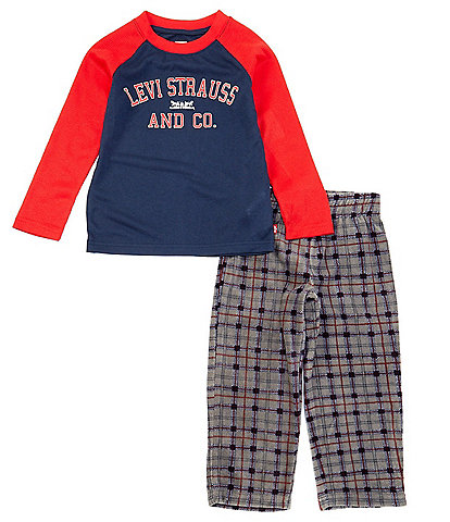 Levi's® Little/Big Boys 4-14 Plaid 2-Piece Pajamas Set