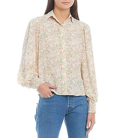 Levi's® Paislee Floral Long Sleeve Button Front Top