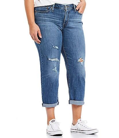 Levi's® Plus Size Distressed Crop Boyfriend Jeans