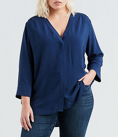 Levi's® Plus Size Michaela Solid Button Front Top