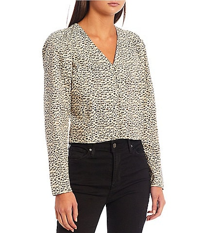 Levi's Teegan Printed Long Sleeve Button Front Top