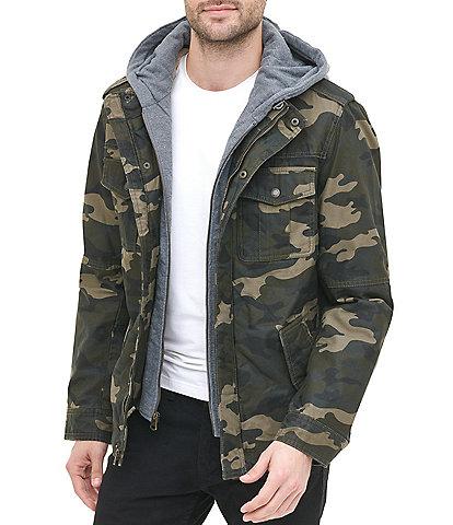 Levi's® Twill Hooded Camo Print Military Trucker Jacket