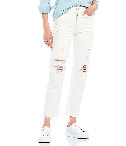 Levi's Wedgie Cloud Straight Leg High Rise Distressed Ankle Length Jeans