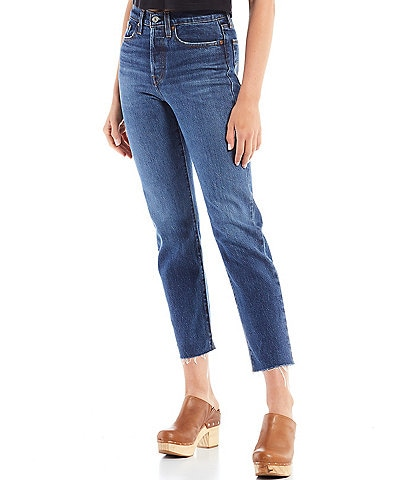 Levi's® Wedgie Straight Leg Stretch Denim High Rise Raw Hem Jeans