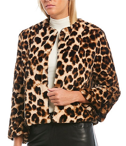 Levivel 1206 Leopard Faux Fur Jacket