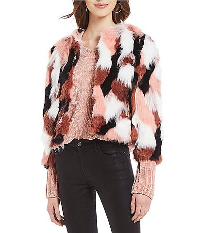 Levivel 1206 Chloe Allover Patchwork Faux Fur Jacket