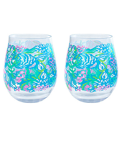 Lilly Pulitzer Aqua La Vista Wine Glass Set
