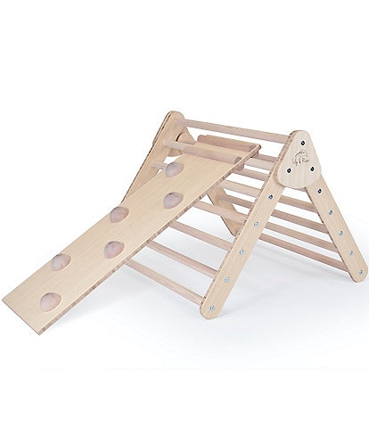 Lily & River Little Climber Pikler Triangle with Reversible Rockwall and Silde Attachment