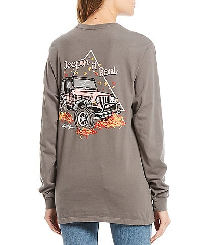 Lily Grace Jeepin It Real Long Sleeves Graphic Pocket Tee