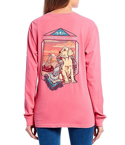 Lily Grace Sunset Dog Long Sleeve Graphic Pocket Tee