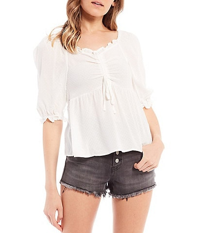 Lily Star Cinched Babydoll Puff Sleeve Top
