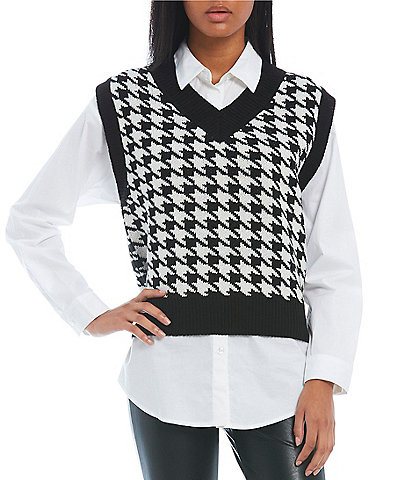 Lily Star Sleeveless Houndstooth Sweater Vest