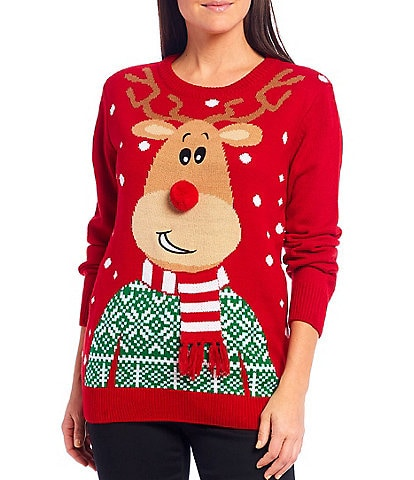 Lisa International Reindeer Scarf Christmas Sweater