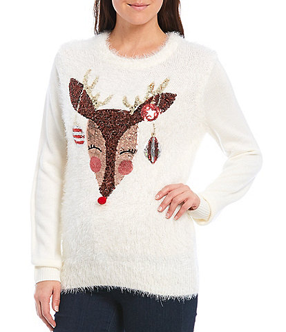 Lisa International Sequin Reindeer Christmas Sweater