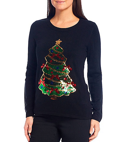 Lisa International Sequin Tree Christmas Sweater