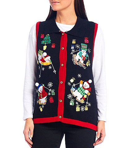 Lisa International Skiing Snowman Faux Fur Collar Christmas Sweater Vest