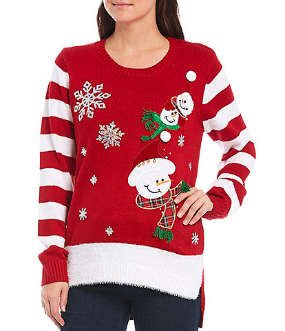 Lisa International Snowman Crew Neck Stripe Sleeve Christmas Sweater