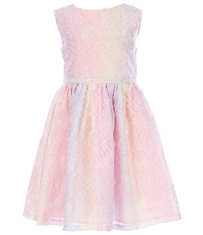 Little Angels by Us Angels Little Girls 2T-6X Rainbow Textured Mesh Fit-And-Flare Dress