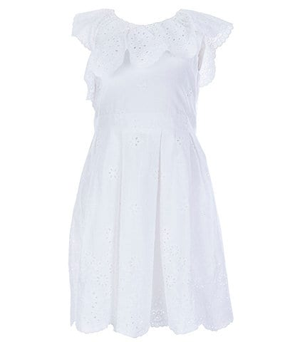 Little Angels by Us Angels Little Girls 2T-6X Ruffle-Trim Eyelet Fit-And-Flare Dress