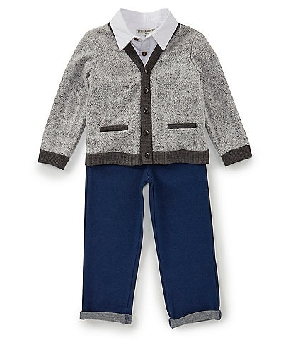 Little Brother Little Boys 2T-4T Cardigan, Long Sleeve Button Front Shirt, & Pants 3-Piece Set