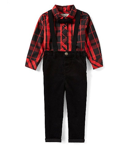 Little Brother Little Boys 2T-4T Long-Sleeve Plaid Woven Shirt, Solid Pants, Bow Tie, Suspenders Set