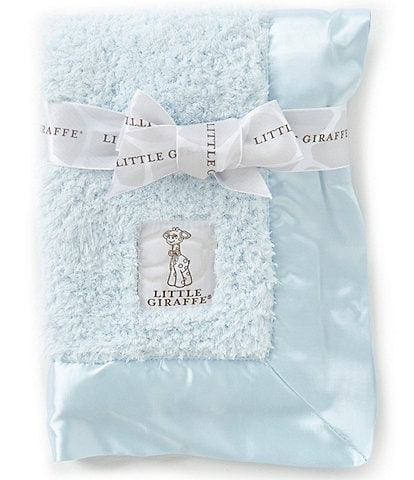 Little Giraffe Satin Trim Chenille Blanket
