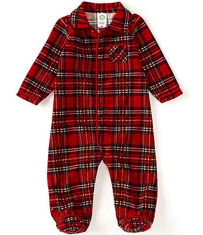 Little Me Baby 3-12 Months Matching Holiday Plaid Pajama Footed Coverall