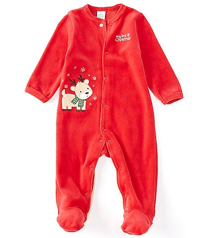 Little Me Baby 3-9 Months Long-Sleeve Reindeer Applique Footed Coverall