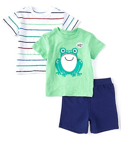 Little Me Baby Boys 12-24 Months Short-Sleeve Solid Frog-Graphic Tee, Striped Tee & Solid Shorts Set