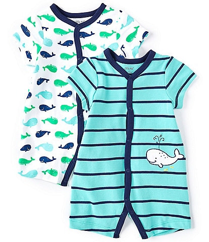 Little Me Baby Boys 3-12 Months Short-Sleeve Whale-Print Shortall & Striped Whale-Motif Shortall Two-Piece Set