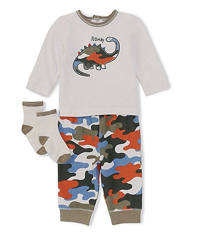 Little Me Baby Boys 3-18 Months Long-Sleeve Camouflage-Dinosaur-Applique Tee & Camouflage-Printed Jogger Pant Set