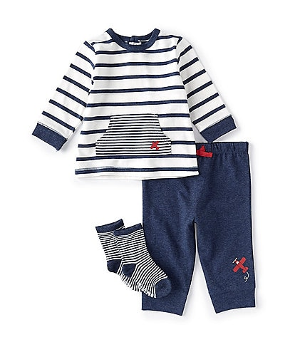 Little Me Baby Boys 3-18 Months Long-Sleeve Striped Airplane Tee & Jogger Pants Set