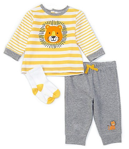 Little Me Baby Boys 3-18 Months Long-Sleeve Striped Lion Tee, Socks & Jogger Pants Set