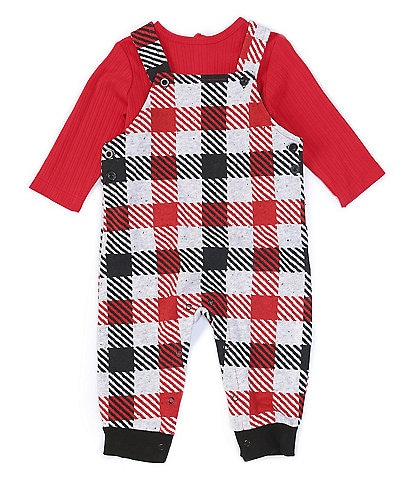 Little Me Baby Boys 3-9 Months Long-Sleeve Tee & Plaid Overall Set
