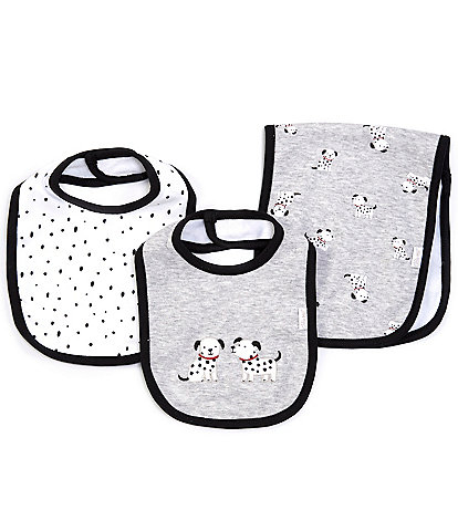 Little Me Baby Boys Dalmatian Bibs & Burpcloth Sets