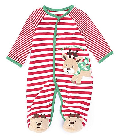 Little Me Baby Newborn-9 Months Long-Sleeve Reindeer Striped Footed Coverall