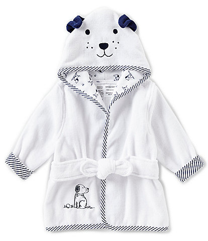 Little Me Baby Boys Newborn-9 Months Puppy Toile Hooded Bath Robe