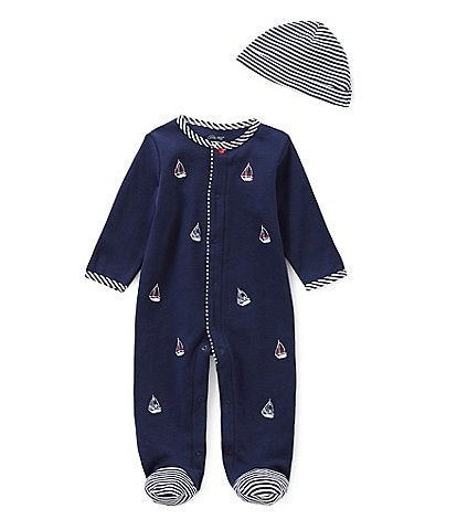 Little Me Baby Boys Newborn-9 Months Schiffli Sailboat Footed Coverall & Hat Set