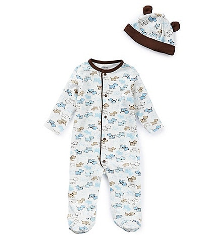 Little Me Baby Boys Preemie-9 Months Cute Puppy Footed Coverall & Hat Set