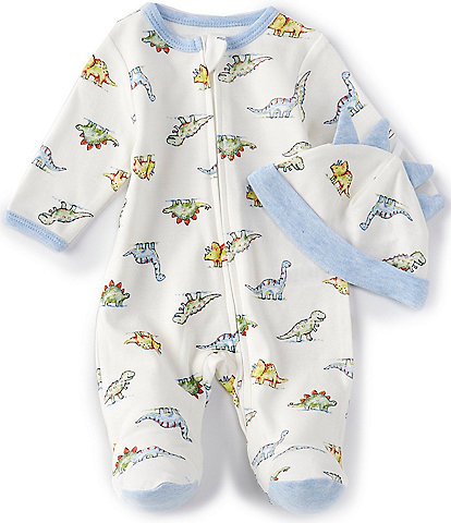 Little Me Baby Boys Preemie-9 Months Long-Sleeve Dinomite Footed Coverall & Hat Set