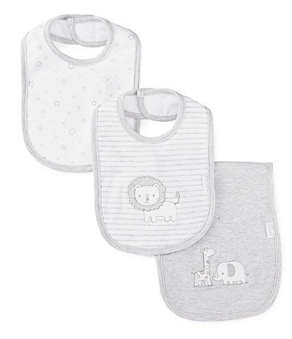 Little Me Baby Safari 2-Pack Bib & Burp Cloth Set