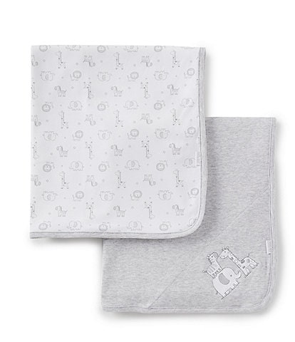Little Me Baby Safari 2-Pack Receiving Blankets