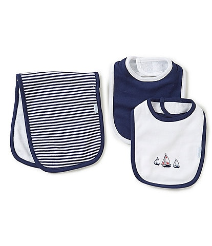 Little Me Baby Boys Sailboats Bib & Burp Cloth Set