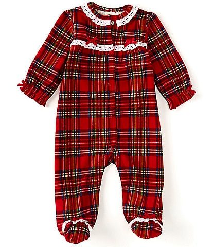 Little Me Baby Girl 3-12 Months Holiday Plaid Ruffle Trim Footed Sleeper
