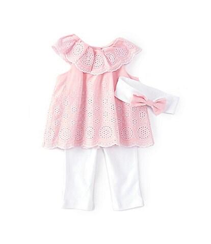 Little Me Baby Girl Newborn-12 Months Ruffled Eyelet Babydoll Top & Leggings Set
