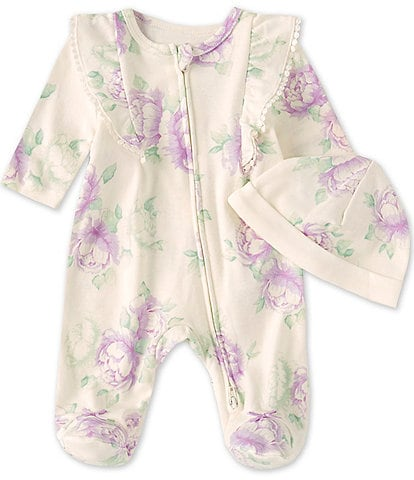 Little Me Baby Girl Preemie-9 Months Lavish Blooms Footed Coverall & Hat Set