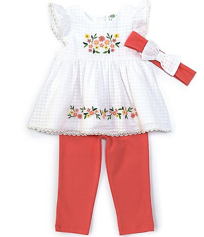 Little Me Baby Girls 12-24 Months Floral-Embroidered Textured Top & Leggings Set